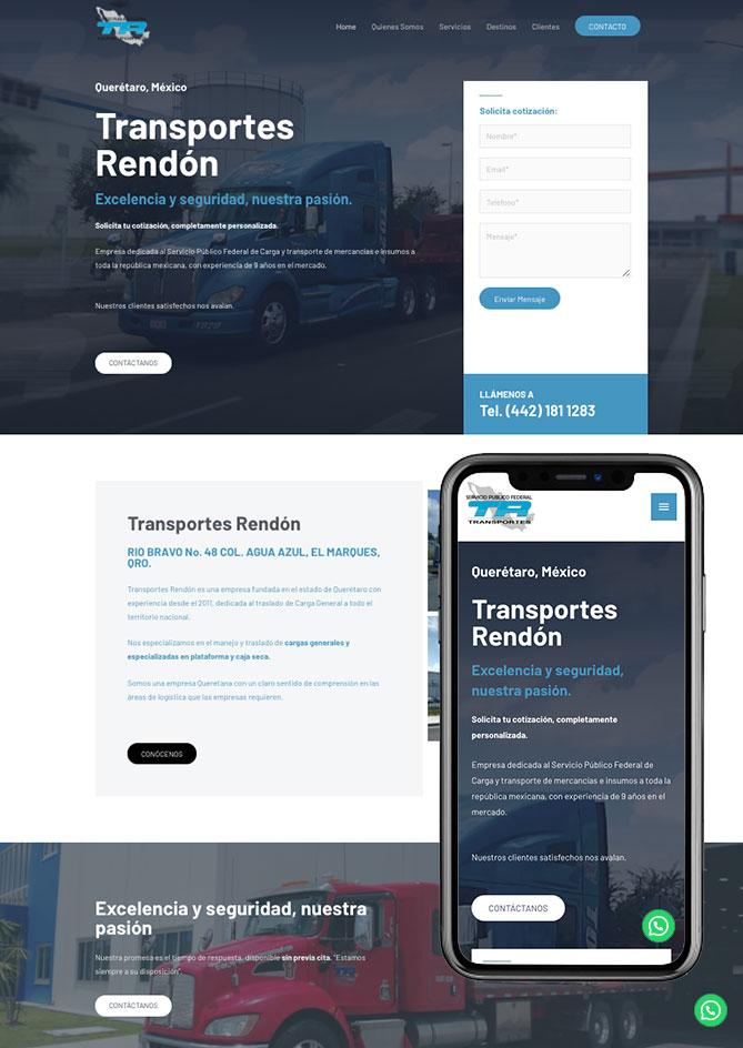 Proyecto Página Web Empresa en Querétaro Transportes Rendon