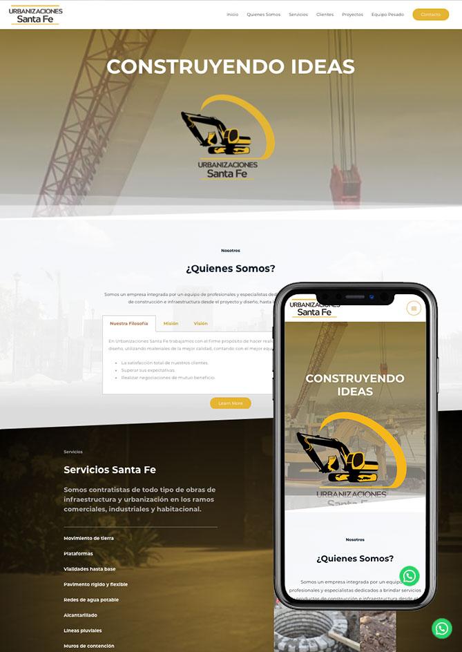 Proyecto Página Web Empresa en Querétaro SantaFe Urbanizaciones